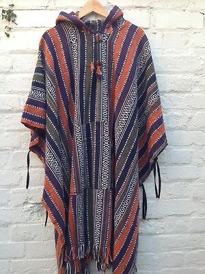 Woven Cotton Hooded Poncho, Hippie, Festival Style