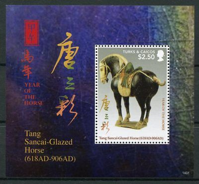 Turks & Caicos 2014 MNH Year of Horse 1v S/S Tang Sancai Glazed Horses Stamps