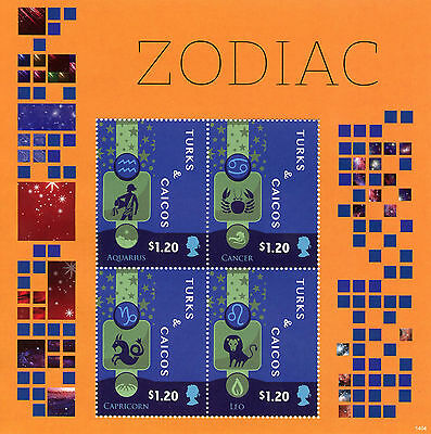 Turks & Caicos 2014 MNH Zodiac II 4v M/S Space Constellations Aquarius Stamps