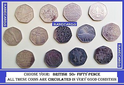 Rare Valuable British Commomerative Coin Hunt Circulated 50p Coins Fifty Pence