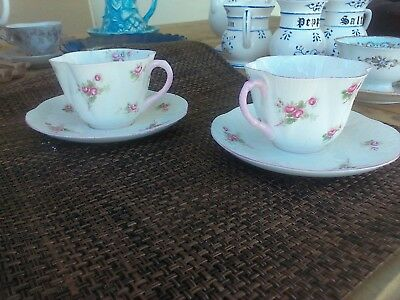 Shelley Cup and Saucer Lavender Pattern Fluted Fine Bone China England