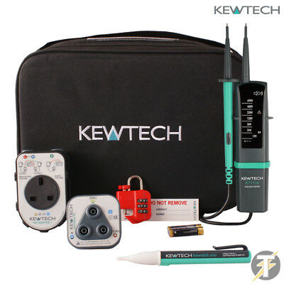 Kewtech KT1710 KIT4L with PAT Adaptor plus R2 Socket Tester Kewlok and Voltstick