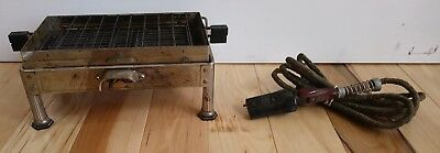 Antique Electric Toaster SUNBEAM No.4 Chrome Bakelite Manual Flip 1920s Flat bed