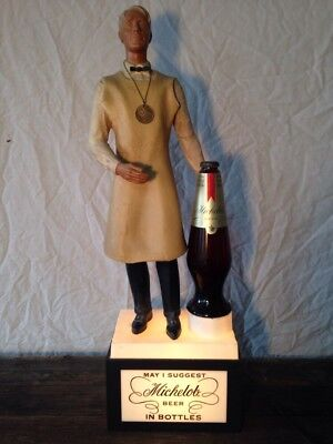 Rare 1960's Michelob Beer Light Up Display With Bottle Figure And Medal