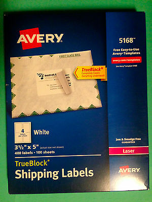 Avery 5168 Laser Shipping Labels 3 1/2 x 5 - 400 Labels 100 Sheets - White - NEW