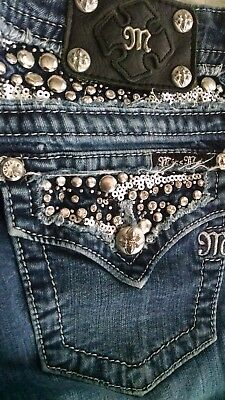 Miss Me Juniors size 28 Signature Rise Boot Cut Blue Jeans New without tags.