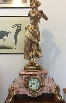 Stunning large 19th C. French Chateau figural and red marble striking clock