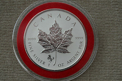 2014 Canada 1oz Silver Reverse Proof Horse Privy Maple Leaf (BU) In Capsule
