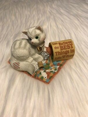 """Enesco Calico Kittens """"Cats Believe The Best Things In Life Are Free""""  686603"""