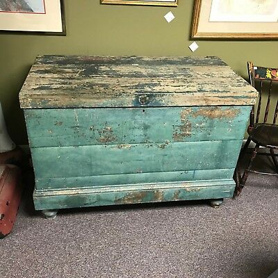 Circa 1870 D. Eddy & Son Boston Ice Box With Original Paint & Zinc Liner