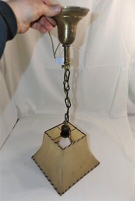 Vintage Art Noveau Hanging Ceiling Light Lamp w/ Square Fiberglass Shade, Rare