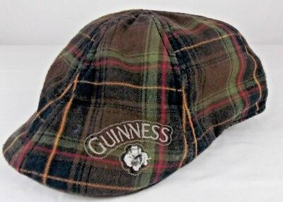 Guinness Plaid Flat Cap L/xl 100% Cotton (H28)
