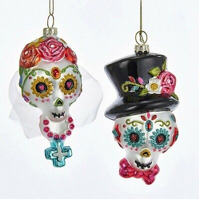 Kurt Adler Day of the Dead Bride Groom Sugar Skull Glass Ornaments J8467