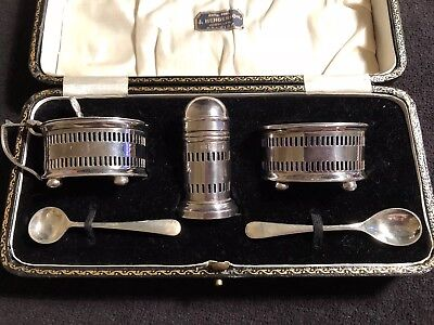 Vintage Silver Plated Condiment Set With Blue Liners- Boxed