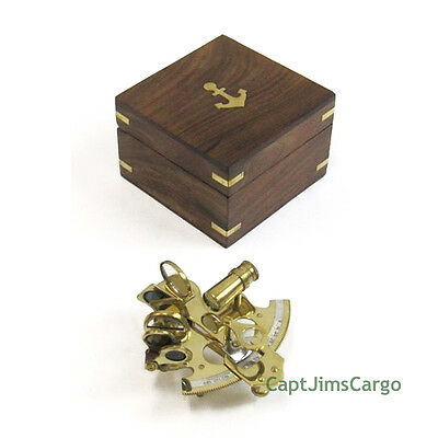 "Small Brass Sextant 4"" w/ Wooden Case Nautical Maritime Desktop Decor New"