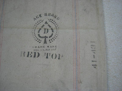 Vintage RED TOP FEED/SEED Heavy Cotton Seamless Bag-Original-Red/Blue Stripe