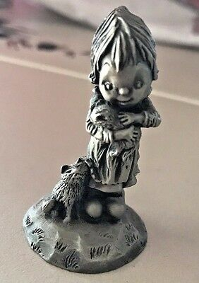 "Hallmark Little Gallery RARE  Pewter ""Girl With Two Kitten"