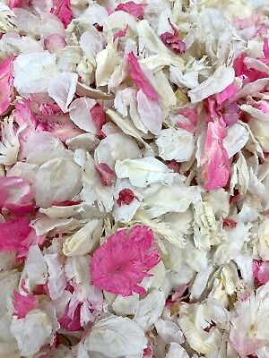 50 Guests x Biodegradable Wedding Confetti Raspberry Pink Ivory Mix Petals Dried