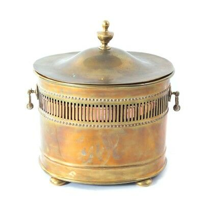 English Antique Solid Brass Coal Box