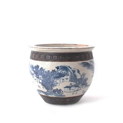 Late 19Th C Chinese Blue & White Large Jardinière