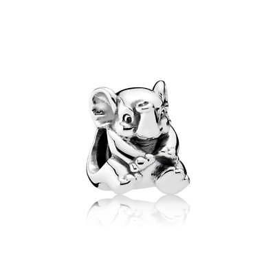 New Authentic Pandora Charm Lucky Elephant 791902 W Tag & Suede Pouch
