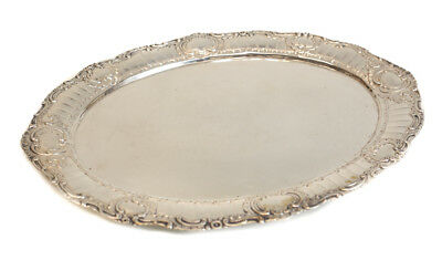 German 800 Silver Oval Tray, 19th Century. Hand Chased Foliate Scrolls