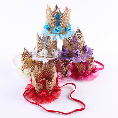 Baby girl crown birthday hat lace headband kids lace flower hair band- UK STOCK