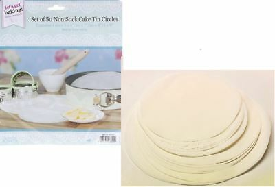 50 X Non Stick Round Cake Tin Liners Mats Sheets Paper Circles