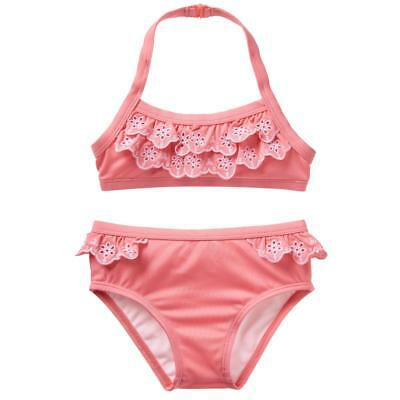 NWT Gymboree Girls Toddler Swimsuit Ruffle 2 pc Coral 2T, 3T, 4T, 5T UPF 50+