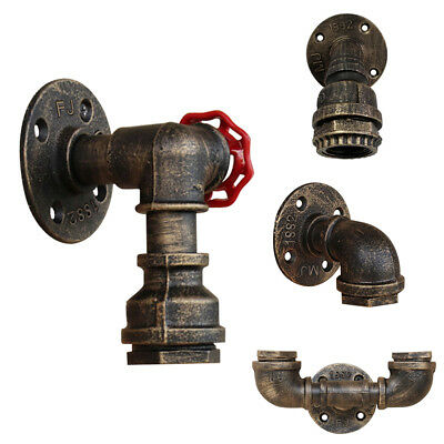 Retro Vintage Industrial Iron Water Pipe Wall Lamp Faucet Sconce Light Fixture