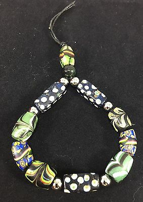 Old Antique Venetian Glass Millefiori Black Green Feather African Trade Beads