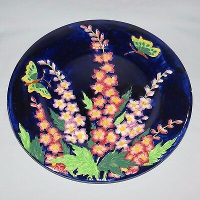 MALING ENGLAND TUBELINED DELPHINIUM PLATE BLUE BACKGROUND c.1935