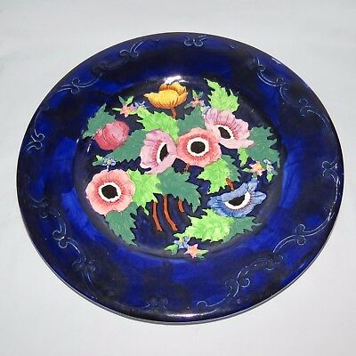 MALING ENGLAND TUBELINED ANEMONE PLATE BLUE BACKGROUND c.1935