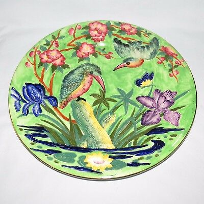 MALING ENGLAND TUBELINED KINGFISHER PLATE GREEN BACKGROUND c.1935
