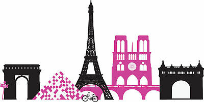SPRINGTIME PARIS Wall Decals Pink Black Eiffel Tower Room Decor Stickers  Louvre