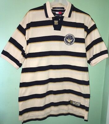 c013b0f78d1 Vintage Tommy Hilfiger Athletics Polo Shirt Rugby Spell Out Men's M Striped