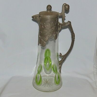 Art Nouveau Pewter and Facetted Green to Clear Crystal tall claret jug c.1915