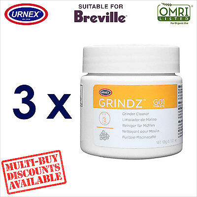 3 x Urnex Grinder Cleaner Cleaning Tabs Conical for Breville Coffee Machine