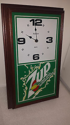 Vintage Hanover Quartz 7up crisp,clear refreshing taste! Wall Clock Rare