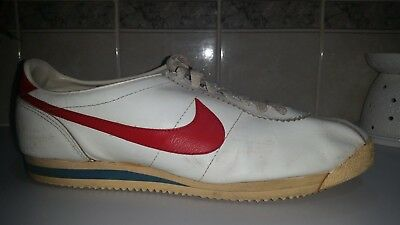 Vintage Nike Leather Cortez Forest Gump Shoes 1982 White & Red Mens Size 13.5
