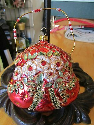 Glass Red Victorian Style Floral Purse Bag Christmas Ornament Fashion Pouch Bag