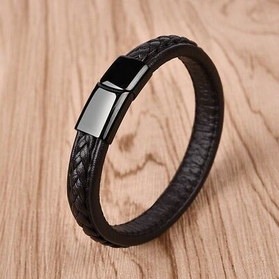 Pretty Men Gifts Jewelry Concise Leather Bracelet For Male Cuff Wristband