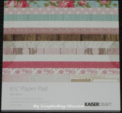 "Kaisercraft 'MISS BETTY' 6.5"" Paper Pad Floral/Vintage KAISER *Deleted 10 left*"