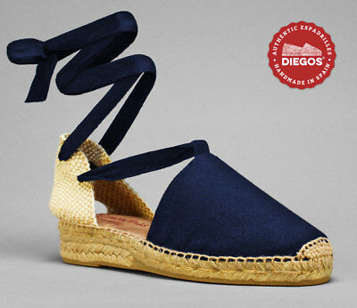 Diegos® Authentic Handmade Spanish Navy Blue Lola lace-up Espadrille, Low wedge