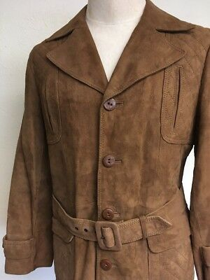 bd94dbf8808 VTG JCPENNEY SUEDE LEATHER OVERCOAT ~ Size 40 Long ~ Medium Brown ~ Waist  Belt