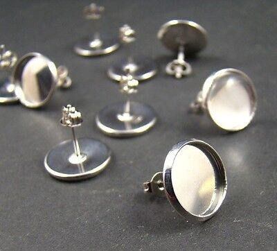 10 pairs (20 pcs) x silver plated earrings with 12mm cabochon bezel setting