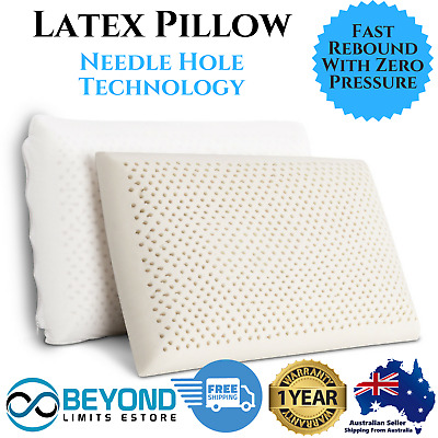 2x Latex Pillows Breathable Support Neck Sleep Bedding Hotel Contour Home 2-Zone