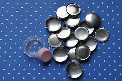 25 x self cover flat back buttons size 36 (23mm) + TOOL + INSTRUCTIONS