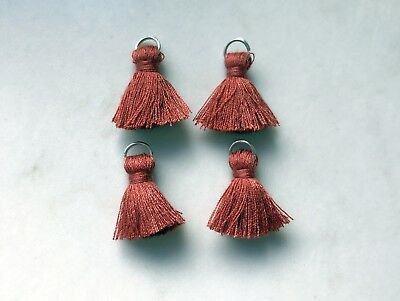 4 x Cotton Tassels 20mm 2cm Long - RUST - great for earrings & accessories