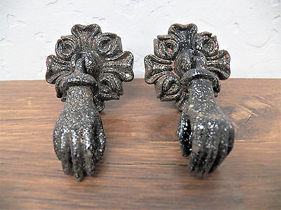 Set Pair of 2 Victorian Style Metal Hanging Hand w/Ball Cabinet Pulls Knobs